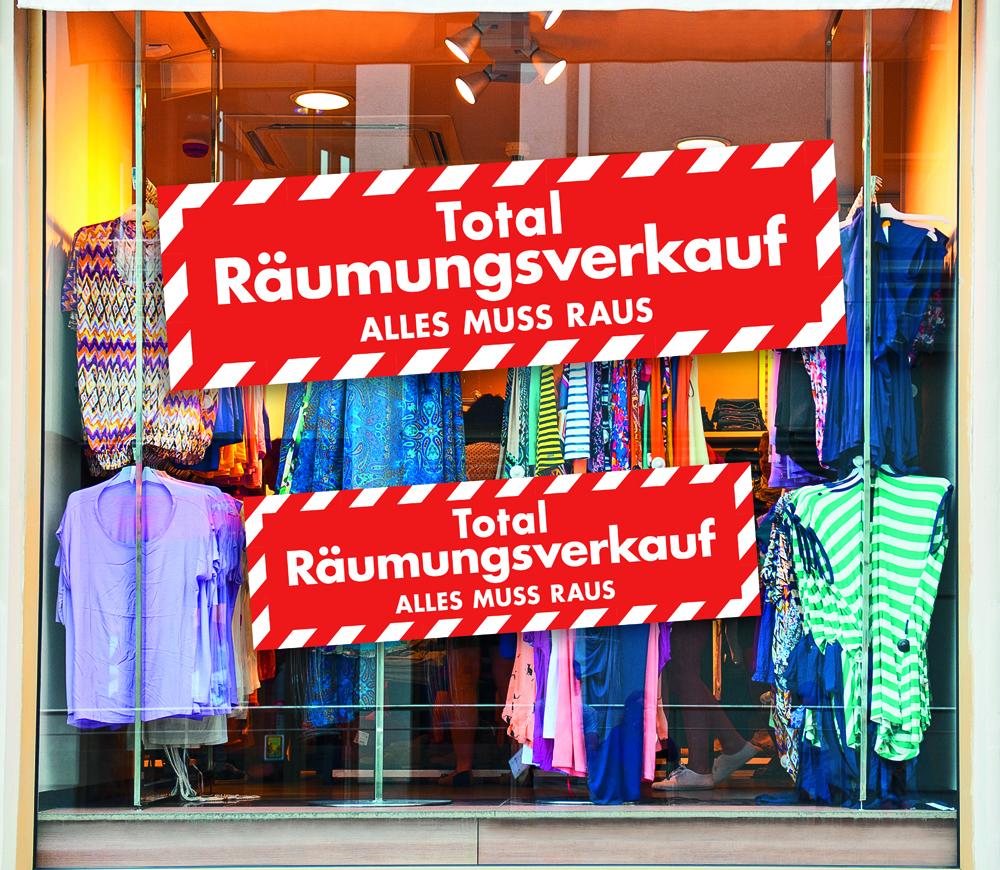 Aufkleber 'Total Räumungsverkauf ALLES MUSS RAUS'