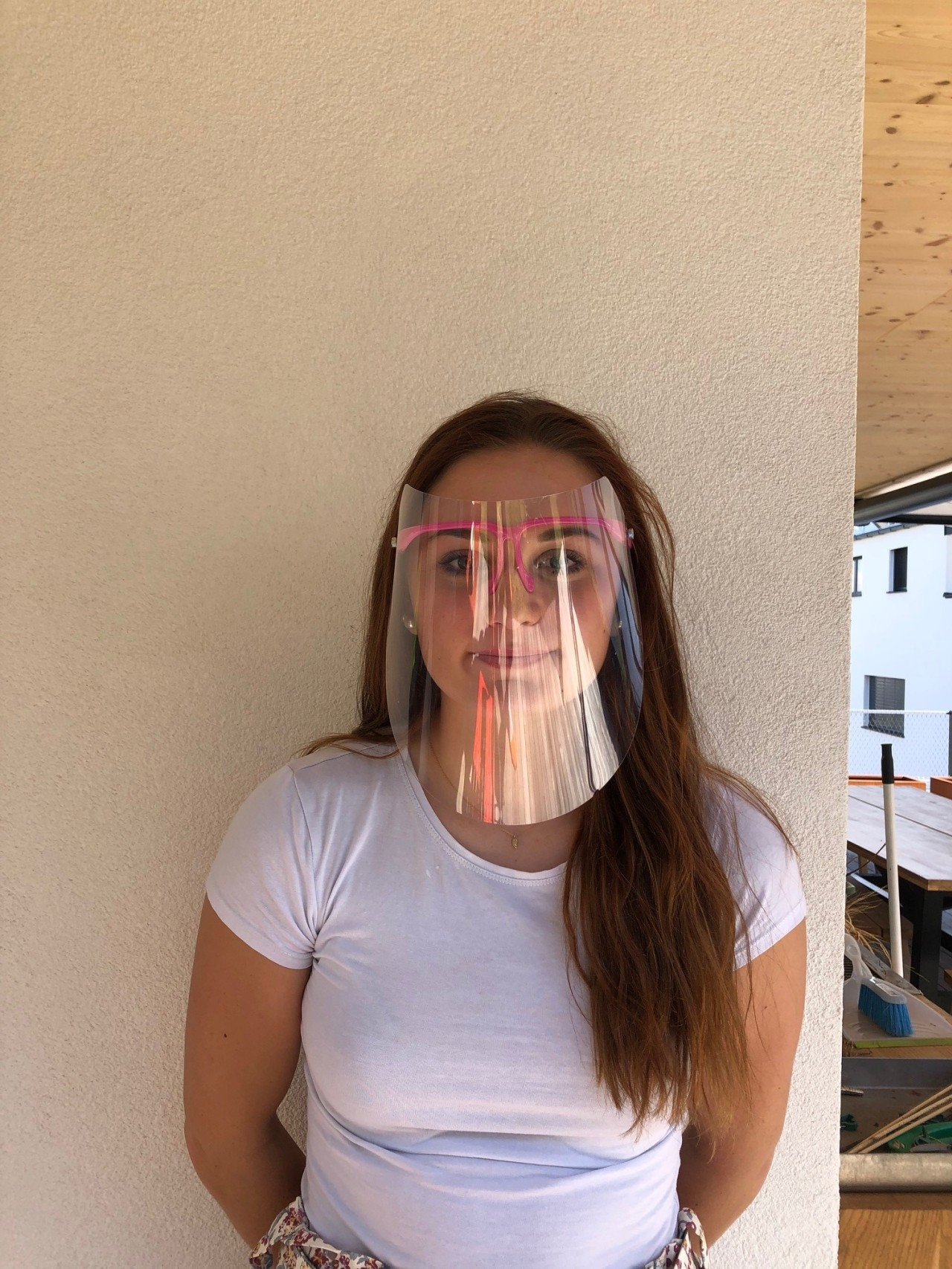 Modisches Gesichtsschutz-Visier-transparent/blau