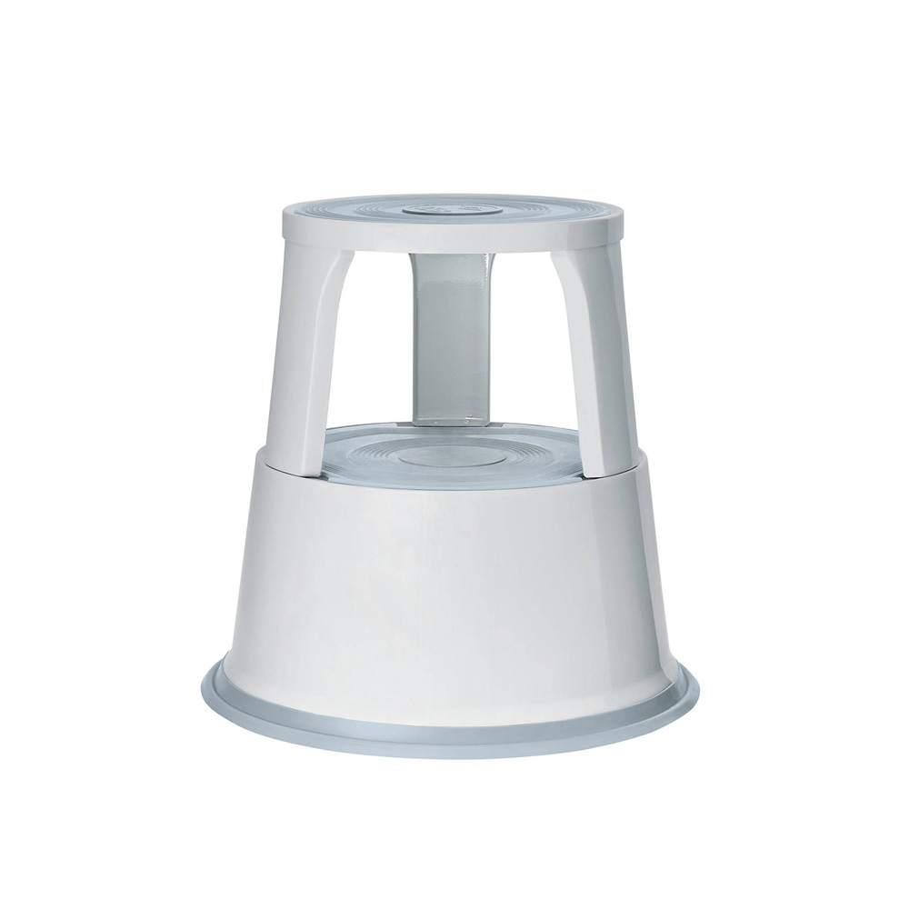 Rollhocker Metall lichtgrau