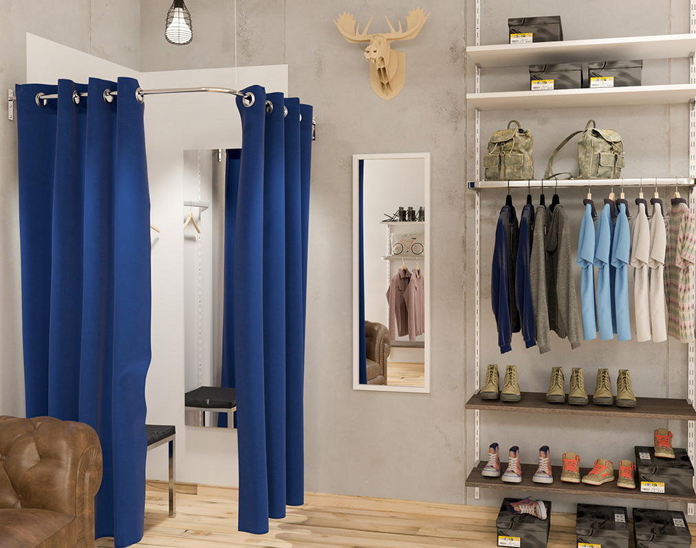 Umkleidebereich Textilgeschäft