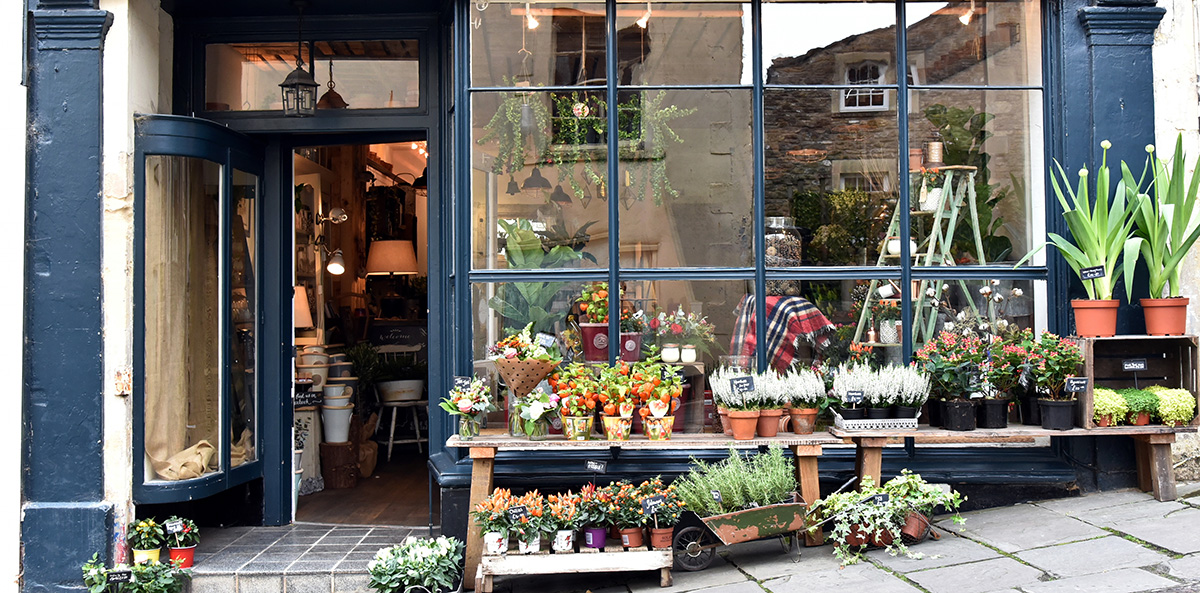 Ladengestaltung Florist Schaufenster Dekoration
